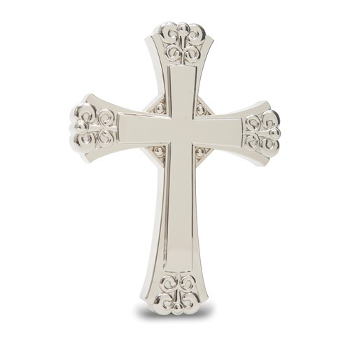 "Silver Hanging Wall Cross- 4 1/2"" x 6"""