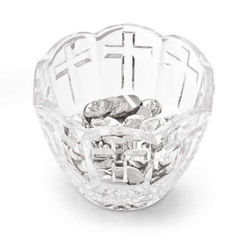 "5 1/8"" Crystal Zhito Bowl with Cross Pattern"
