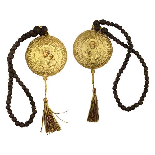 Dual-Sided Hanging Car Icons- Theotokos, Christ & St. Nicholas (Gold)