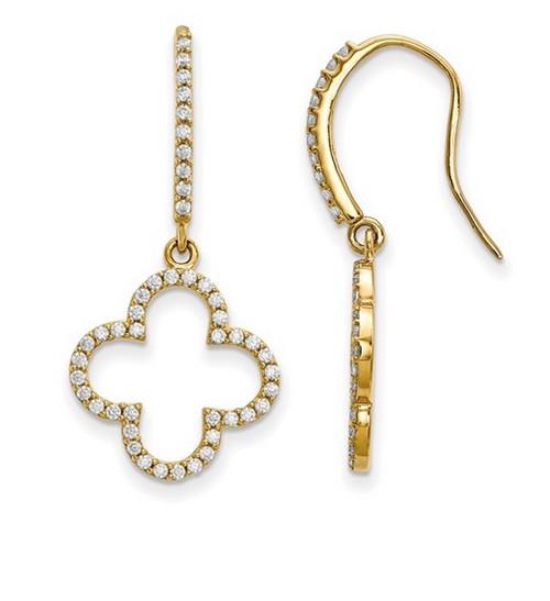 14KYG Genuine Diamond Dangle Earrings