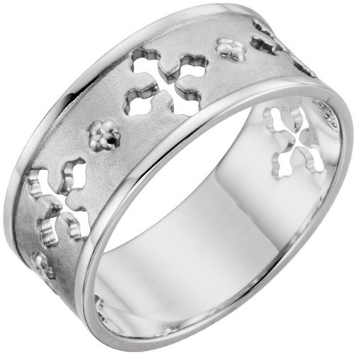Women's 14K White Gold Pierced Cross Ring : Sizes 6 to 8
