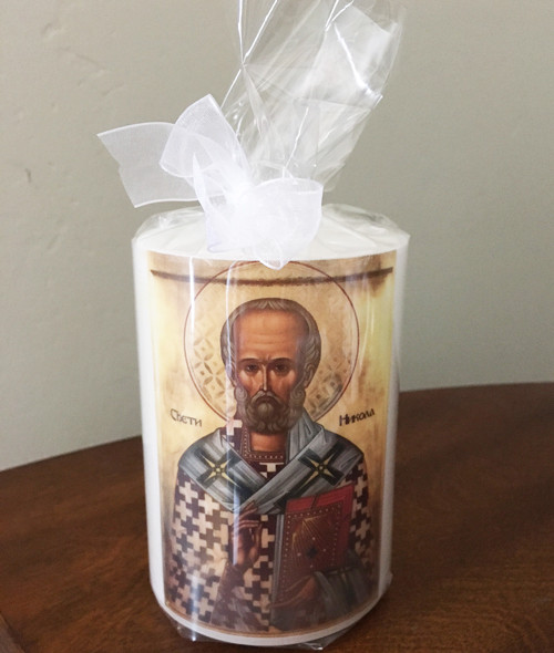 St. Nicholas Hand-dipped Icon Pillar Candle: 3 Sizes Available!