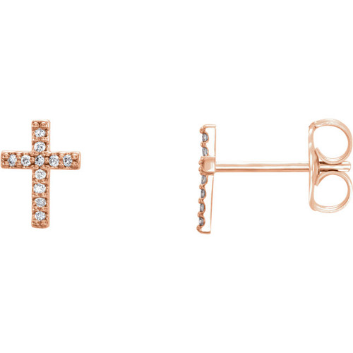 14K Rose Gold .06 CTW Diamond Cross Earrings
