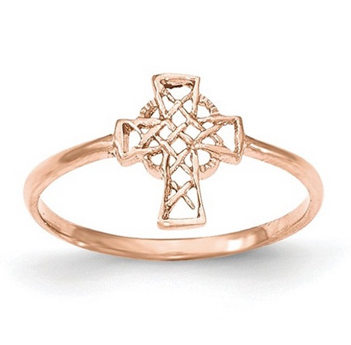 14K Rose Gold Polished Celtic Cross Ring