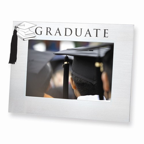 Engravable Polished and Satin Aluminum Graduate 4 x 6 Photo Frame