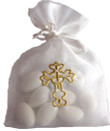 Embroidered Cross Favor Bags:  Set of 25