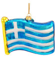 Greek Flag Glass Ornament