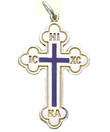 Sterling Silver Greek Style Cross w/ Blue Enamel- 1 1/8""