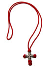 Woven Prayer Cross- Red with Beads