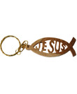 Jerusalem Olive Wood Carved Jesus Fish Keychain