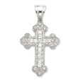 Sterling Silver and CZ Byzantine Cross- 2 1/2&quot;