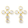 14KYG and CZ Cross Post Earrings