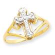 14KYG and Rhodium Cross Ring- Size 7