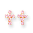 14KYG and Pink CZ Cross Post Earrings