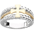 14KYG, 14KWG and Genuine Diamond Men's Greek Cross Wedding Ring