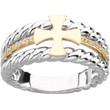 14KYG, 14KWG and Genuine Diamond Men's Greek Cross Wedding Ring