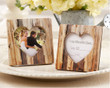 """""""Rustic Romance"""" Faux-Wood Heart Place Card/Photo Holder- Set of 10"""
