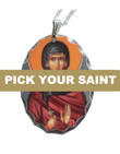 "Pick-Your-Saint Silver Oval Icon Pendant with 18"" Sterling Silver Chain"