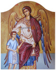 Guardian Angel with Boy Icon- Standing Arched Panel