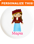 Personalized Dishes: Greek Girl Design- ANY LANGUAGE!