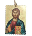 Icon of Christ Scalloped Rectangle Acrylic Christmas Ornament