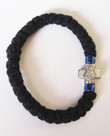 33 Knot Prayer Rope: Mt. Athos (Black Rope with Blue Beads)
