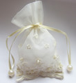 Embroidered Lace & Pearl Organza Favor Bags- Ivory- Set of 25