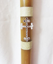 "18"" Beeswax Candle with Rhinestone Cross Embellishment"