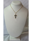 14KYG St. Olga Style Cross with Blue Enamel- Medium