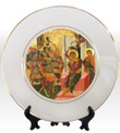 """8 1/4"""" Porcelain Icon Plate with 24K Gold Trim: St. Dimitrios"""