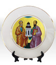 """8 1/4"""" Porcelain Icon Plate with 24K Gold Trim: Ss. Peter and Paul"""