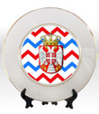 "8 1/4"" Porcelain Plate with 24K Gold Trim: Serbian Crest with Chevron Background"