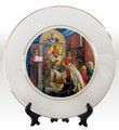 "8 1/4"" Porcelain Icon Plate with 24K Gold Trim: St. Sava Blessing the Children"