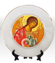 "8 1/4"" Porcelain Icon Plate with 24K Gold Trim: St. Archangel Michael"