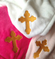 Gold Cross Embroidered Microfleece Baby Blanket- MORE COLORS!