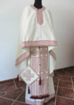 Premium Hand Made Vestments: Off-White/Red Set