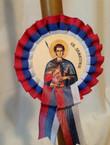 "Serbian Slava Beeswax 18"" Candle with Medallion: Sveti Dimitrije"