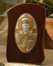 Italian Silver Icon of St. Nicholas on Curved Wood