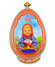 "Wooden Pascha/Easter Magnet ""XB"" with Matryoshka"