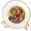 """8 1/4"""" Porcelain Icon Plate with 24K Gold Trim: Ss. Peter and Paul: Style 2"""