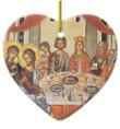Wedding at Cana Ceramic Heart Ornament
