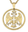"14KYG and Rhodium Plated 7/8"" Serbian Eagle Pendant and Necklace"