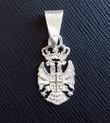 "Sterling Silver 4Cs Serbian Grb Pendant- 1 1/8""- MEDIUM"