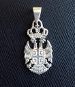 "Sterling Silver 4Cs Serbian Grb Pendant- 1 3/8""- LARGE"