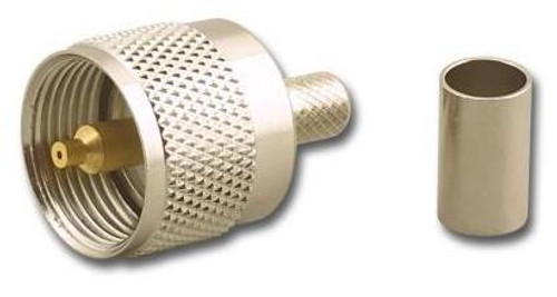 Crimp PL-259 UHF-Male Coaxial Connector for RG-8 (UHF-7606-L)