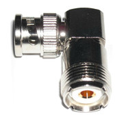 BNC-Male to UHF-Female Right Angle Coaxial Adapter Connector