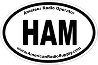 HAM Radio Sticker - American Radio Supply - 3 x 4.5 Inch Oval