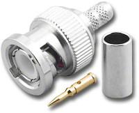 BNC-Male Dual Crimp Plug Coaxial Connector for Belden 8218 BNC-3027-75