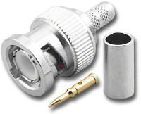 BNC-Male Dual Crimp Plug Coaxial Connector RG-58A & RG-58C BNC-7022-A