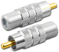 F-Female to RCA-Male Plug Coaxial Adapter